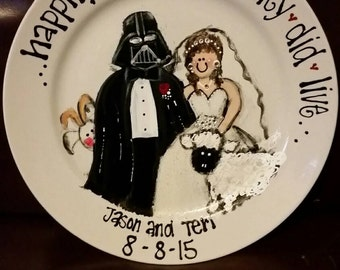 unique one of a kind hand painted wedding plate of a bride and groom free personalization