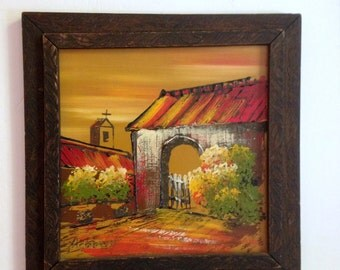 Vintage Mexican Painting Carved Wood Frame Mexico Mission