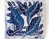 leafy blues hand carved ceramic art tile