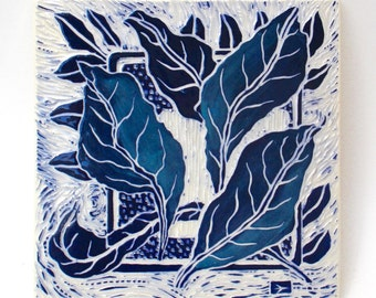 leafy blues hand carved ceramic art tile