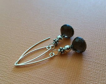 SALE - AAA Beautiful Genuine Smoky Quartz Faceted Briolette and Sterling Silver Earrings WAS 40.00 Now 25.99
