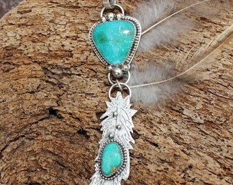 Ruffled Feather & Turquoise Cabochon Sterling Silver Pendant Necklace, rustic, artisan, metalwork, handmade, boho, gypsy