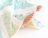 Baby Blanket, Small Patchwork with Minky for Baby Les Amis Fox and Owl