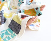 Baby Boy Scrappy Patchwork Blanket with Yellow Minky
