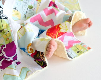 Baby Girl Scrappy Patchwork Soft Cozy Blanket with Yellow Minky