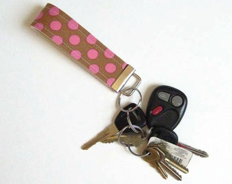 Pink Polka Dots Key Fob - You Choose Size