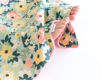 Baby Girl Security Blanket Fabulous Mint Flowers Lovey with Minky for Toddler Baby Girls