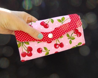 Accordion Clutch Wallet - Long Wallet - Organizer - Necessary Clutch - Cotton Fabric - Cherries Pink Red Hearts Cherry