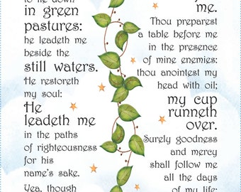 Fabric Art Panel - 23rd Psalm - 10x18