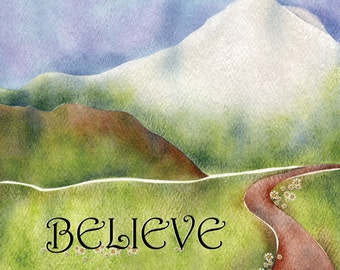 "10"" x 12"" Fabric Art Panel - Believe"