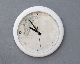 Time to Travel Clock Vintage Sea Map Wall clock