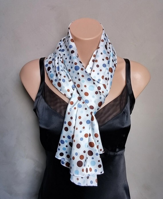 Large Scarf with Blue and Mocha Dots