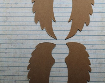2 Pairs Bare chipboard die cuts Fairy wings Angel Wings 4 3/4 inches long