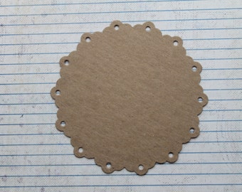 3 Bare chipboard die cuts scalloped circle with punched holes diecuts 4 5/8 inches wide