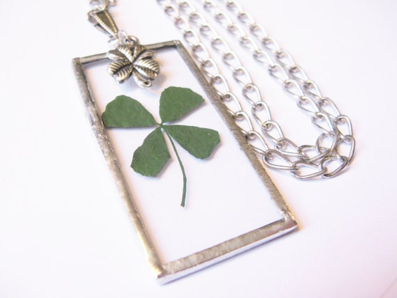 four leaf clover necklace - 4 leaf clover necklace - real clover necklace - silver four leaf clover necklace - long necklace