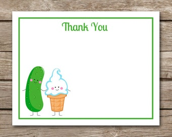 Pickles Ice Cream Thank You Card, Pickles Ice Cream Baby Shower Thank You, Baby Shower Thank You, INSTANT DOWNLOAD
