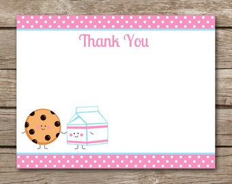 Milk And Cookies Thank You Card, Cookies And Milk Thank You, Cookie Party Thank You, Cookie Decorating, Cookie Birthday, INSTANT DOWNLOAD