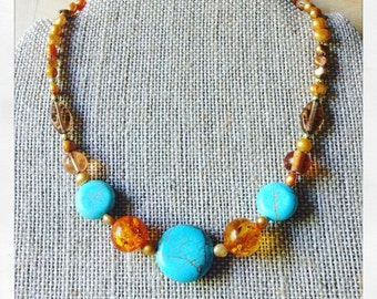 Turquoise & Amber-Colored Choker
