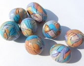 Etched Beads, Blue Orange Beads, Blue Gold Beads, Orange Gold Beads, Polymer Clay Beads, Scored Beads, Mica Beads, Turquoise Beads