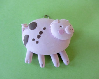Polymer Clay Pig - Fimo Pig - Pink Pig - Pig Wall Hanging - Polymer Clay Piglet - Polymer Clay Piggy - Pink Brown Pig - Pig Sculpture