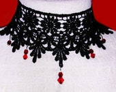 victorian goth black venise lace edwardian choker FREE SHIPPING