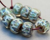 Borosilicate Beads Sage Green Spotted Lampwork Beads