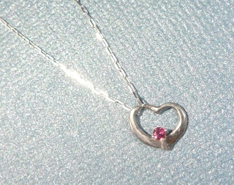 Tiny Pink Tourmaline In a Slanted Heart Design Pendant - Gift