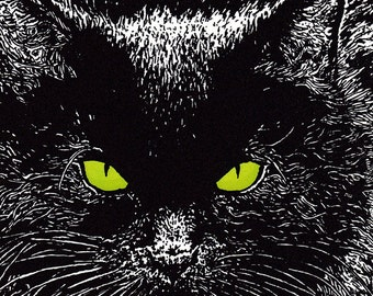 Black Cat Card Letterpress Printed with Original Illustration Black and Green