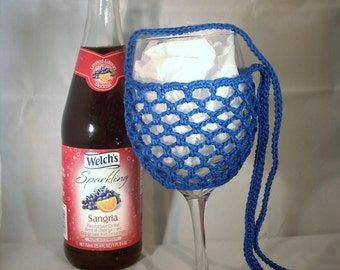 Wine Glass Holder Necklace sling lanyard cozy cooler crochet Blue Ready To Ship