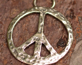 Hammered Peace Charm in Sterling Silver