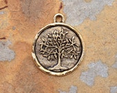 1 Antique Gold Tree of Life 24x20mm