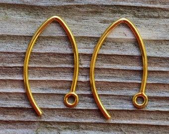 2 Bali Vermeil Marquise Earwires 24mm x 11mm Low Shipping