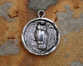 1 Antique Silver Owl Charm 24x20mm Nunn Designs