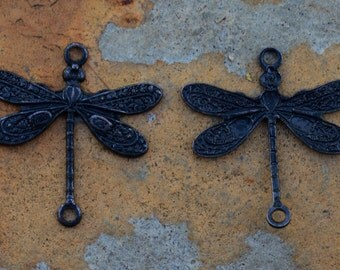 2 Matte Black 2 Ring Small Dragonfly 17x16mm - Trinity Brass Co.