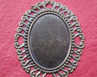 10% OFF SALE - 8pcs 60x50mm Antique Bronze Filigree Huge Base Cameo BS013