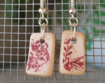 seaglass inspired earrings vintage red and white floral  transferware china TrAsH gLaSs