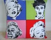 Albert Einstein Marilyn Monroe Charlie Chaplin 16x16 Zippered Pillow Cover 1950s Pop Art 16 Cushion Sham Case Slip Andy Warhol Art Print