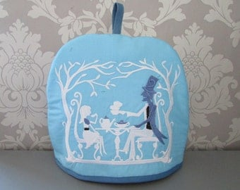 Mad Hatters Teaparty Embroidered Tea Cosy Blue  teapot /gothic/Alice in Wonderland Medium