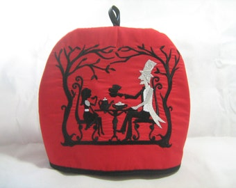 Mad Hatters Teaparty Embroidered Tea Cosy teapot /gothic/Alice in Wonderland