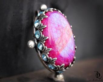 Pink Moonstone // Enchantress No. 2  // Pink Rainbow Moonstone and Swarovski Rhinestones Sterling Silver gemstone, welded by Bellalili