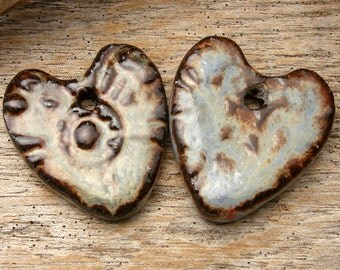 TWIN HEARTS - Robins Blue and Blue Jean Blue with Chocolate Brown Pendants - 2 Handmade Ceramic Pendants - #4