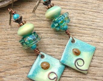BLUE RIDGE - Handmade Lampwork, Handmade Enamel, Ceramic Beads, Copper & Sterling Earrings