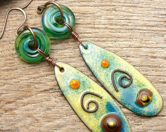 SURF'S UP - Handmade Lampwork, Handmade Enamel, Copper & Sterling Earrings