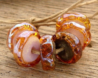 CARAMELIZED - Handmade Lampwork Beads - Earring Pairs - 6 Beads