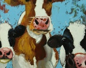 Cows painting animals 499  24x30 inch original portrait oil painting by Roz