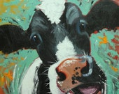Cow painting 1065 20x20 inch animal original oil painting by Roz