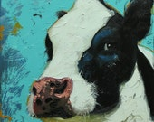 Cow painting 1068 12x12 inch original animal portrait oil painting by Roz