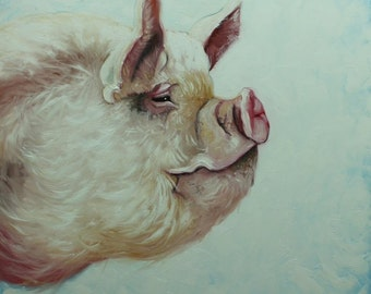 Pig painting 204 30x30 inch original oil painting by Roz
