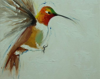 Bird painting 237 Hummingbird 12x12 inch portrait original oil painting by Roz