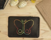 Butterfly Leather Slim Wallet,Leather Card Holder